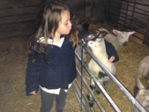 Maddy with standing lamb